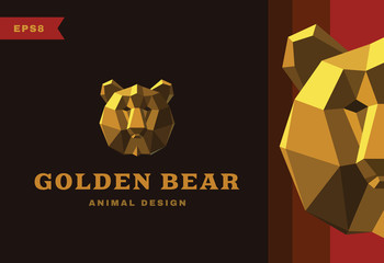 Vector logo. Golden Bear Polygon