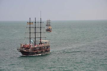 Dreimaster auf dem Mittelmeer, Touristenattraktion ,