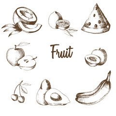 PrintFruit set. Lemon, watermelon, apple, apricot, avocado, cherry, coconut, banana in graphic style. Natural product. Sketch. Drawing by hand.