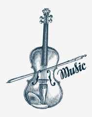 Hand drawn violin vector illustration. Sketch musical instrument