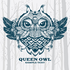 Illustration Owl. Decorative graphics on White background