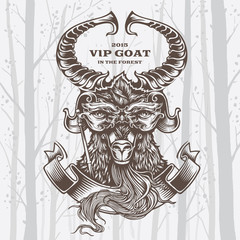 Vector Illustration Goat on White background.
