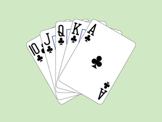 Playing Cards - Royal Flush of Clubs