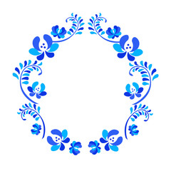 Old traditional gzel ornament. Decorative floral blue and white wreath
