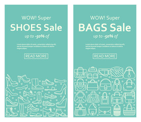 Bags and shoes sale banners made of outlined icons. Vector illustration.