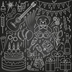 Set of line icons. Happy birthday and party events. Vector illustration.