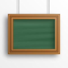 Chalkboard background with wooden frame isolated on the white wall. Vector illustration