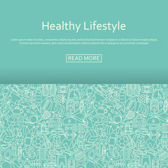 Healthy lifestyle background made of outlined icons. Vector illustration.