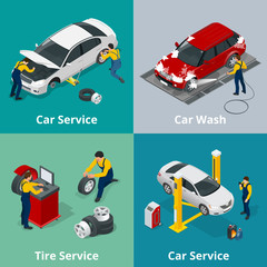 Flat horizontal banners with scenes workers in Car repair service center, Tire service, car wash and car repair mechanics. Vector isometric banners for web.