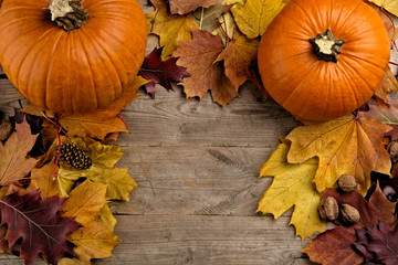 Pumpkins with autumn leaves seen bird's eye view for thanksgivin