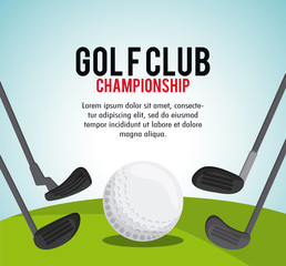 Gold sport concept represented by ball and club icon. Colorfull and classic illustration.