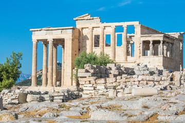 The beautiful Erechtheion in Acropolis of Athens, Greece.
