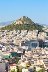 Beautiful view at Mount Lycabettus and the city of Athens, Greece.