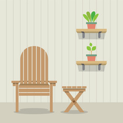 Garden Chair And Table With Pot Plants On Wooden Wall