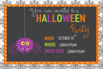 Halloween party invitation cards spider web background  with han