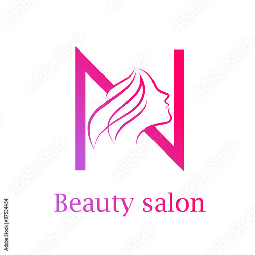 Abstract letter n logo beauty salon logo design template for Abstract beauty salon