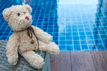Teddy Bear Sitting near Swimming Pool (Concept about love)