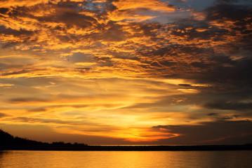 Sunset Over Caminada Bay at Grand Isle, Louisiana
