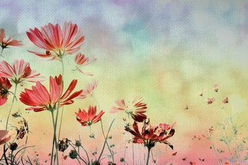 Soft focus cosmos flower on vintage pastel background.Soft focus