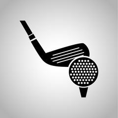 Golf clubs and ball icon on the background