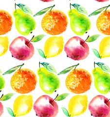 Watercolour apple and orange citrus fruit illustration. citrus n