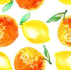 Watercolour orange and lemon fruit illustration. citrus natural
