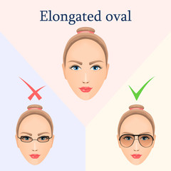 Glasses for elongated oval face