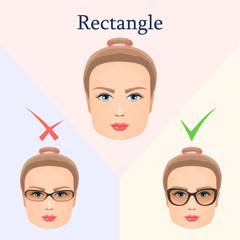 Glasses for rectangular face