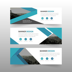 Blue abstract triangle corporate business banner template, horizontal advertising business banner layout template flat design set , clean abstract cover header background for website design