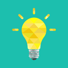 Light bulb. Vector Illustration on low poly style