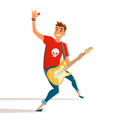Cartoon electric guitar player. Teenage guitarist shows hand up. Vector illustration of young person holding electric guitar