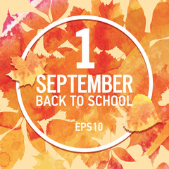 September, first day of autumn, back to school, seasons illustration, golden, leaves of bouquet, handmade painted, abstract vector design art