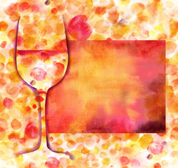 Wine glass silhouette on festive background with copyspace