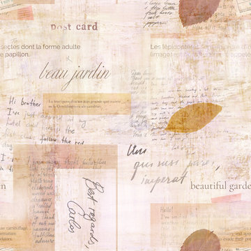 Seamless pattern with fragments of old ephemera for scrapbooking