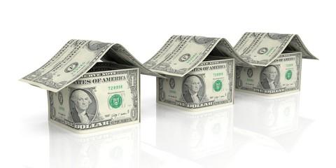 Dollar houses on white background. 3d illustration