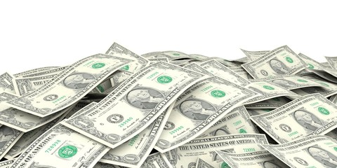 3d rendering one dollar banknotes background