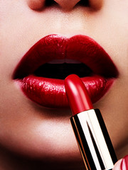 red lips with lipstick