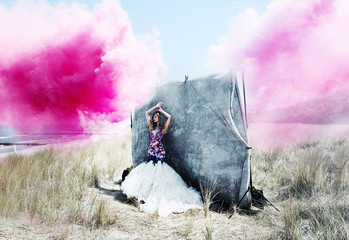 fashion dress with pink clouds