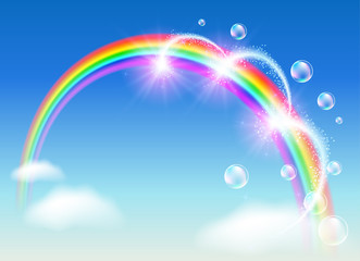 Rainbow with bubbles and fireworks in the sky