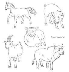 black and white image of a bull, sheep, horse pig and goat