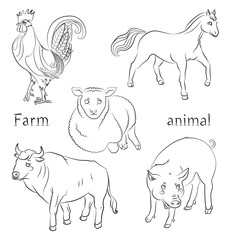 black and white image of a bull, cock, pig, horse and sheep