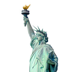 Statue of Liberty in New York isolated on white background