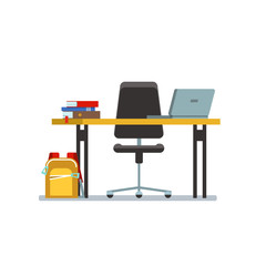 The workplace of the student with laptop, books and school bag in class isolated. Vector illustration of school workplace on white background.