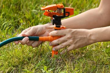hands of gardener installing sprinkler for lawn irrigation