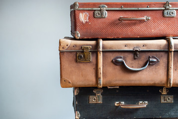 Vintage Ancient Suitcases Shabby Gray Background