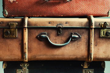 Close Up Vintage Pile Ancient Suitcases Luggage
