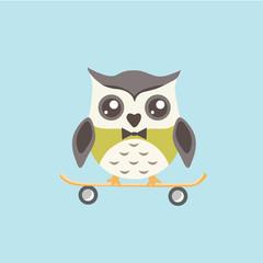 Cute Owl with skateboard.