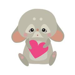 Cute rabbir with a heart