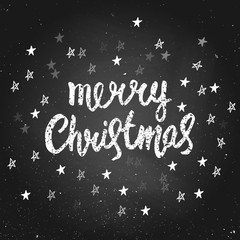 Merry Christmas - greeting quote on chalkboard. Handdrawn lettering lettering. Vector illustration. Design by flyer, banner, poster, printing, mailing