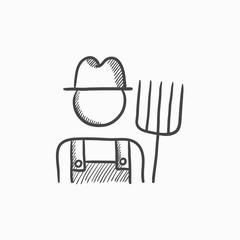 Farmer with pitchfork sketch icon.